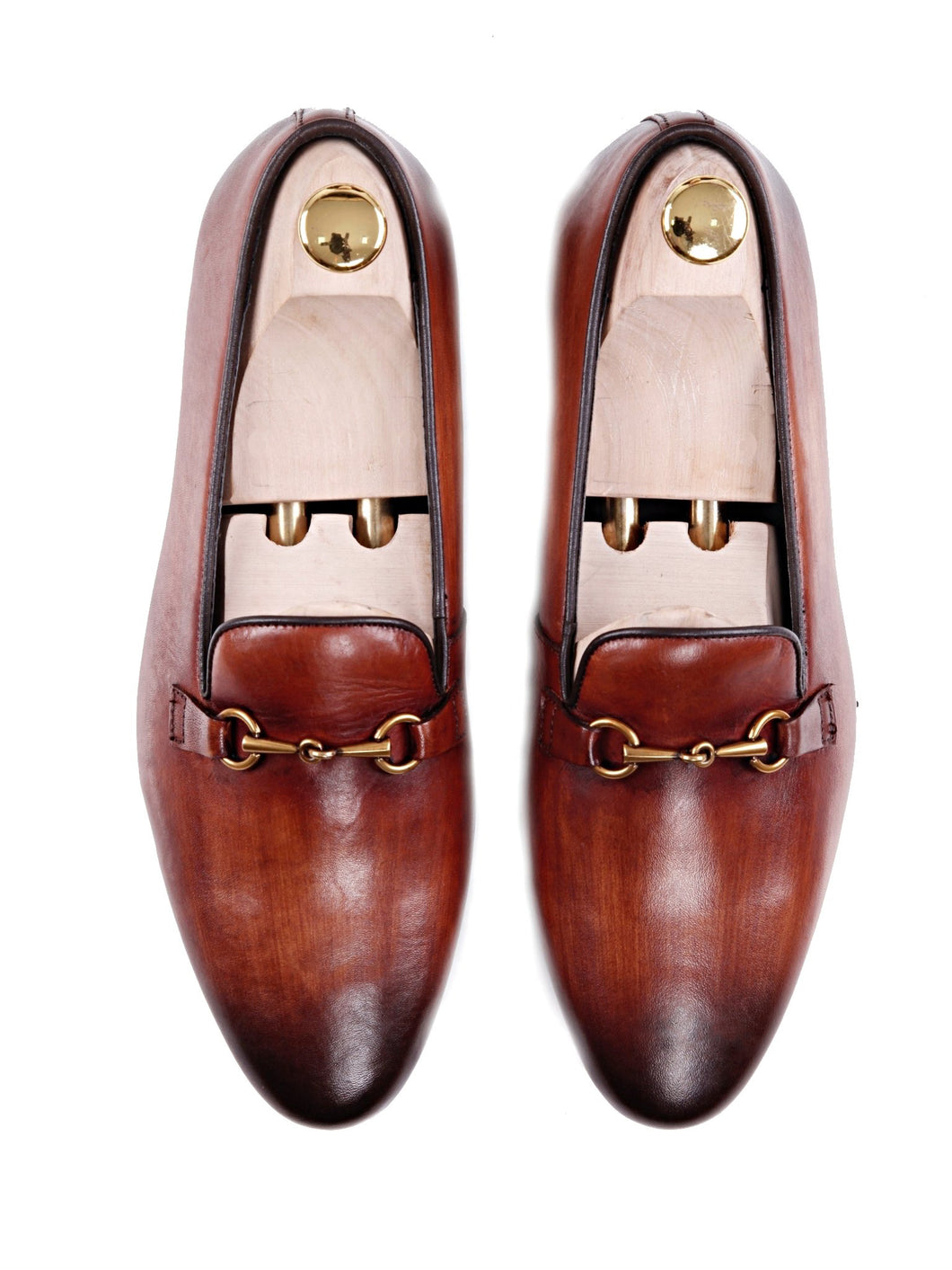 Women Loafer Slipper in Cognac Tan Leather Brass Horsebit