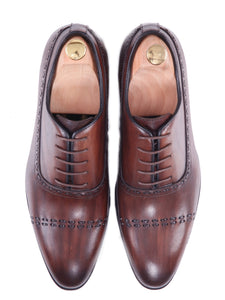Oxford Cap Toe - Dark Brown Running Stitch Lace Up (Hand Painted Patina)