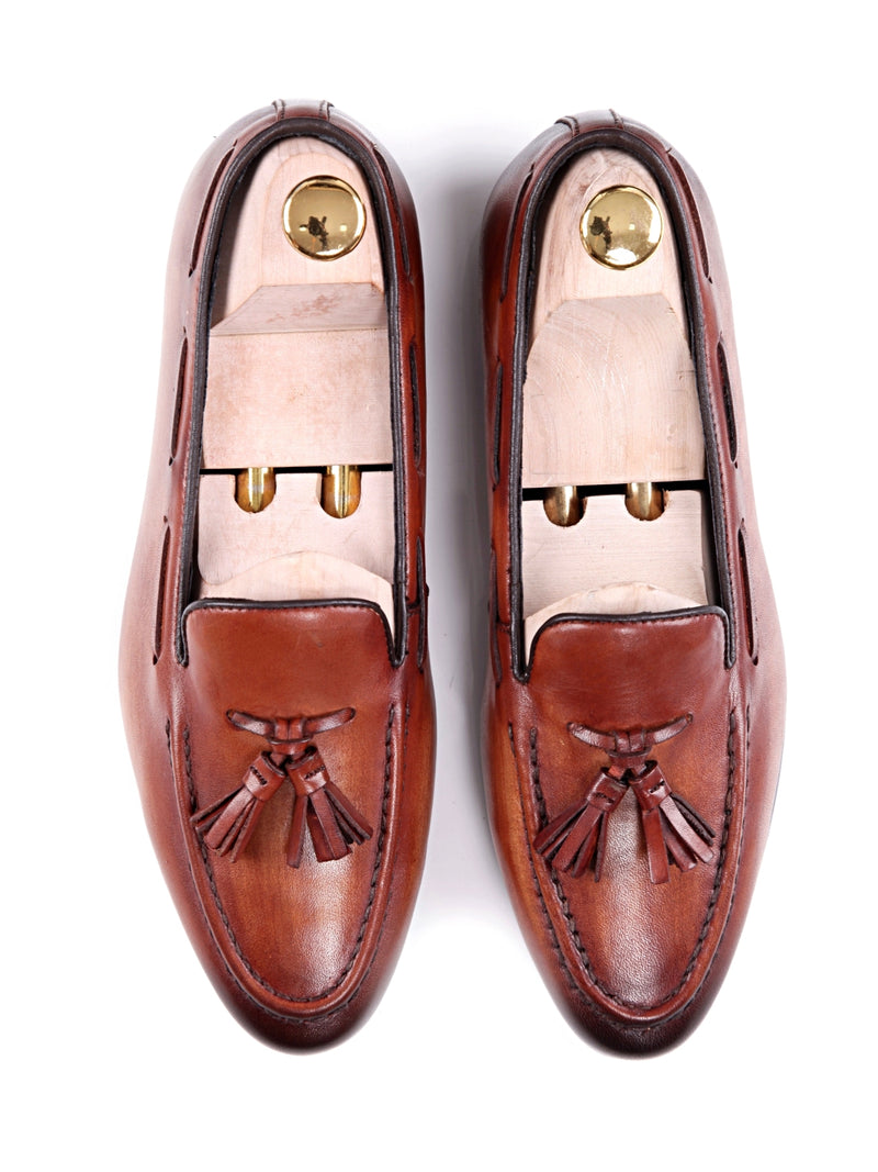 Women Tassel Loafer in Cognac Tan