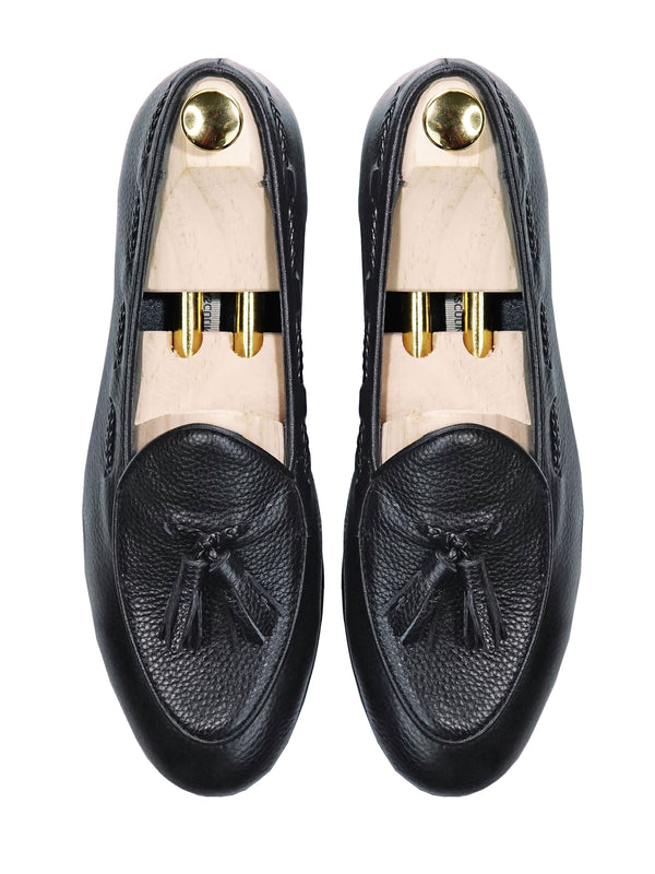 Belgian Loafer With Tassel - Black Pebble Grain Leather