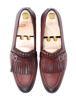 Fringe Kiltie Loafer - Cognac Tan Woven Leather with Side Buckle (Hand Painted Patina)