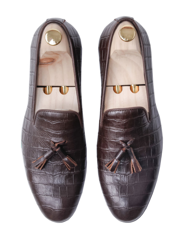Loafer Slipper - Coffee Croco Leather