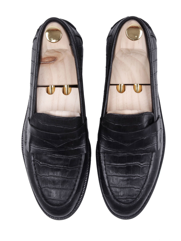 Penny Loafer - Black Crocodile Leather (Crepe Sole)
