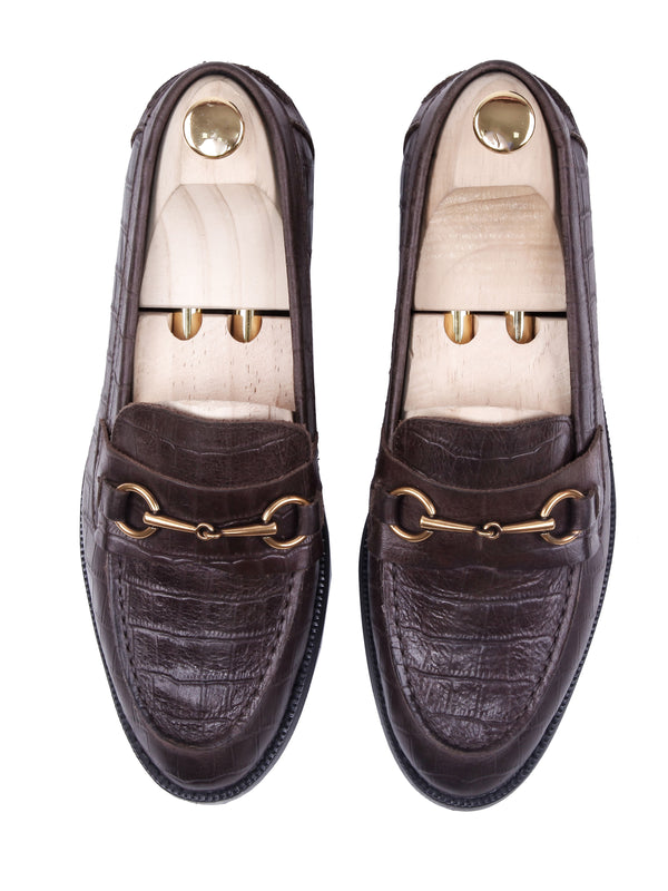 Penny Loafer Horsebit Buckle - Coffee Croco Leather (Crepe Sole)