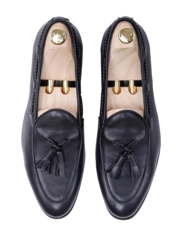 Belgian Loafer With Tassel - Black Leather