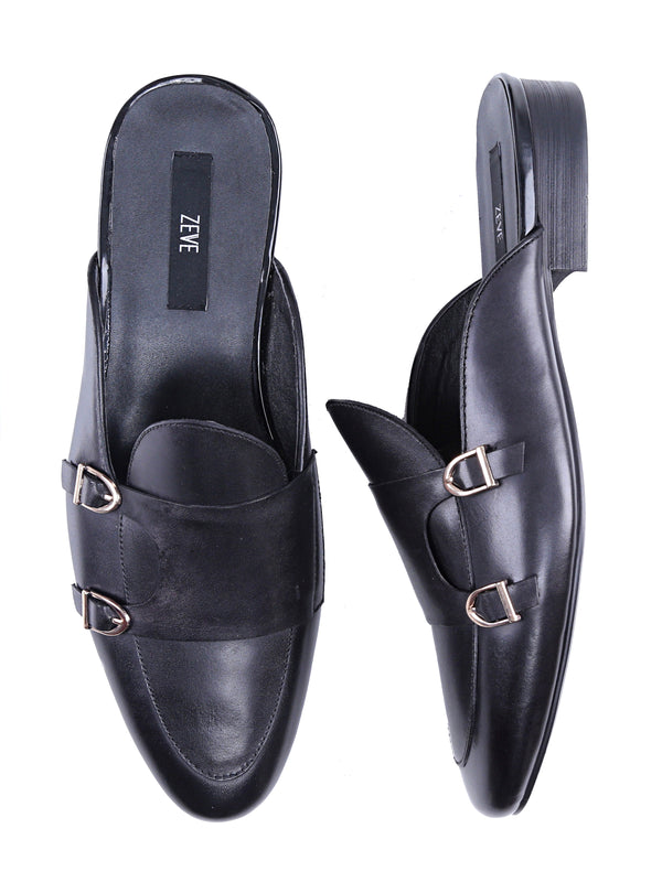Mules - Black Belgian Double Monk Strap