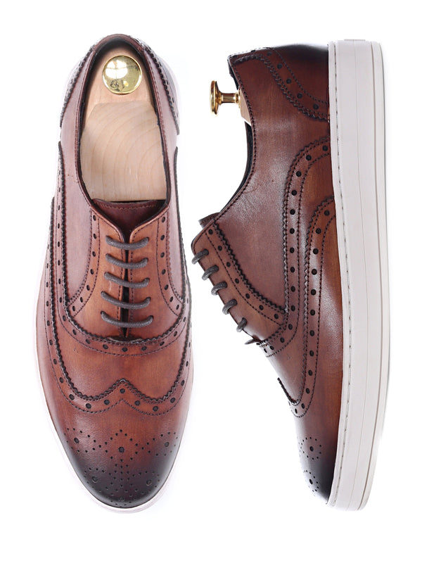 Oxford Brogue Wingtip Sneakers  - Cognac Tan Leather Lace Up (Hand Painted Patina)