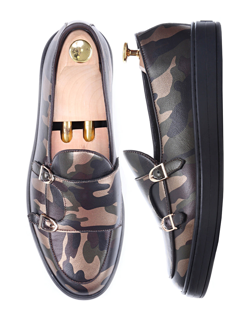 Sneakers  -  Camouflage Leather (Black Outsole) Double Monk Strap