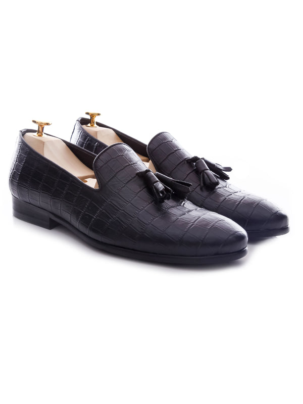 Loafer Slipper - Black Crocodile Leather