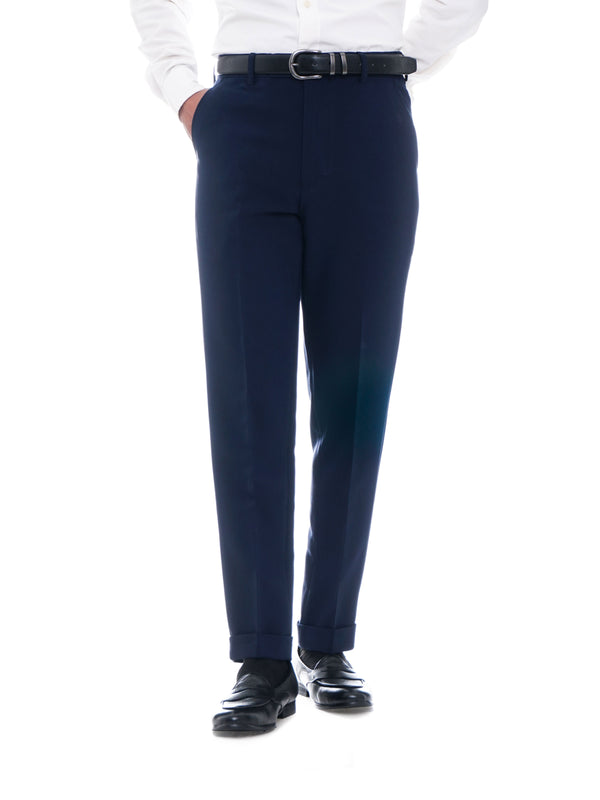 Trousers With Belt Loop -  Navy Blue Plain Cuffed (Stretchable)