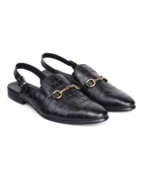 Mules Slingback Strap - Black Croco Leather Horsebit Buckle