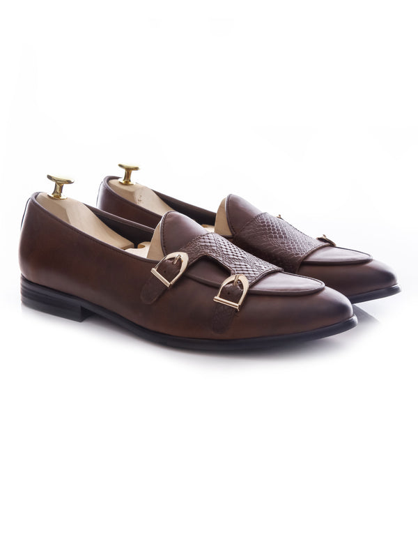 Belgian Loafer Double Monk Strap - Coffee Leather