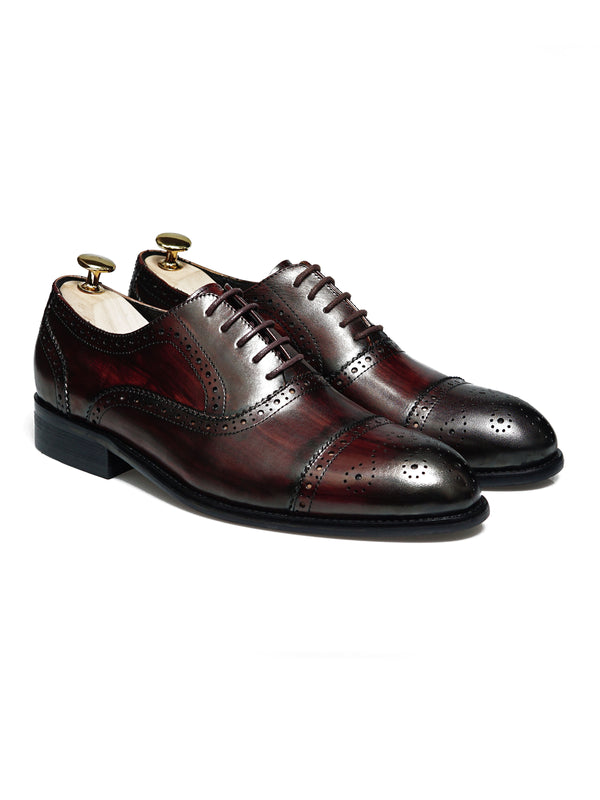 Oxford Cap Toe Semi Brogue - Coffee Lace Up (Crust Patina)