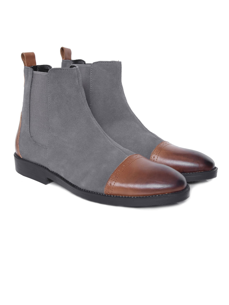 Chelsea Boots Cap Toe - Suede Grey With Brown Cap (Crepe Sole)