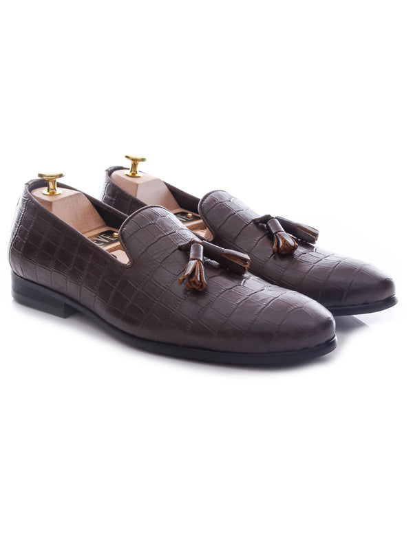 Loafer Slipper - Coffee Crocodile Leather