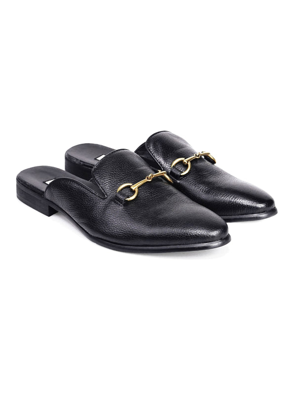 Mules - Black Pebble Grain Leather Horsebit Buckle