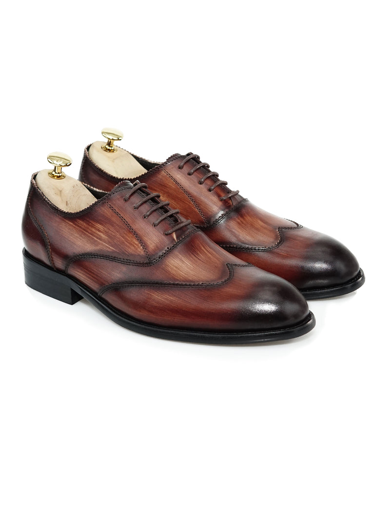 Oxford Austerity Wingtip - Coffee Lace Up (Crust Patina)
