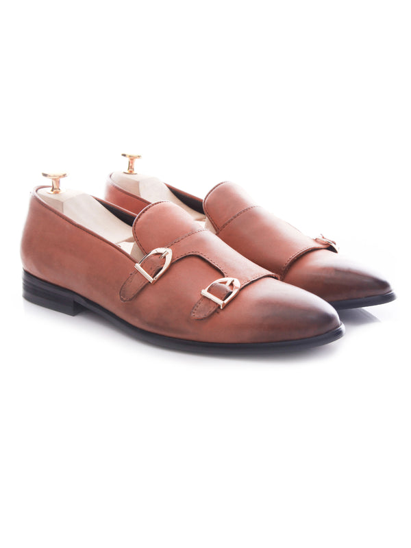 Loafer Slipper Double Monk - Tangerine Leather