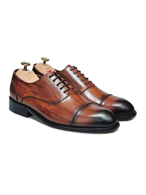 Oxford Cap Toe - Cognac Tan Lace Up (Crust Patina)