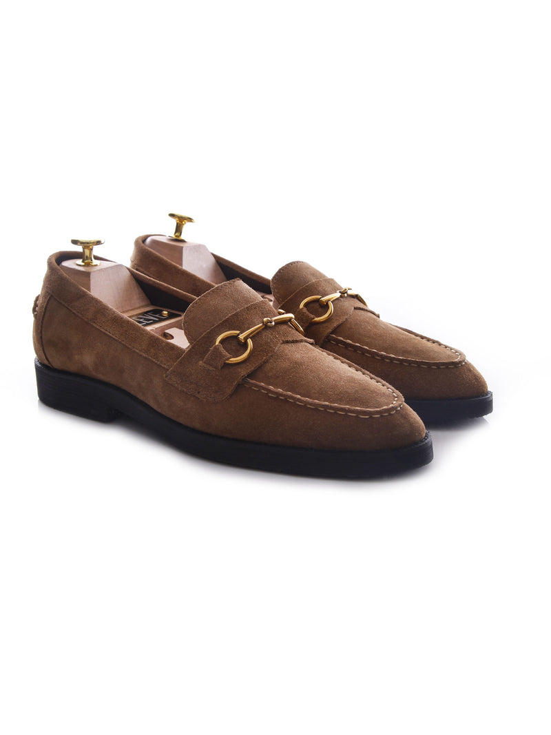 Penny Loafer Horsebit Buckle - Camel Suede Leather (Crepe Sole)