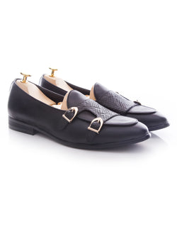 Belgian Loafer Double Monk Strap - Black Leather