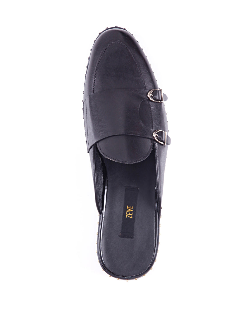 Mules - Black Belgian Double Monk Strap with Studded Trim