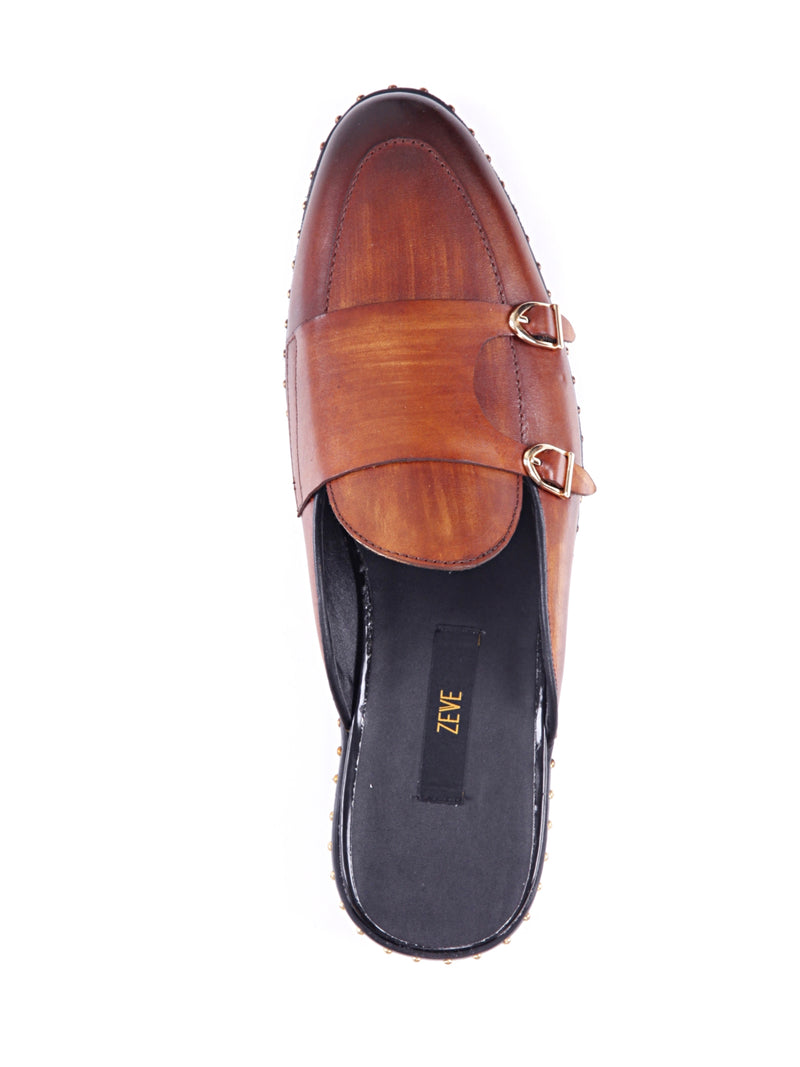 Mules - Cognac Tan Belgian Double Monk Strap with Studded Trim (Hand Painted Patina)