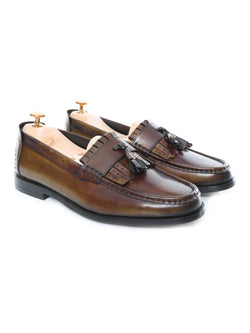 Fringe Classic Loafer - Khakis with Tassel (Hand Painted Patina)
