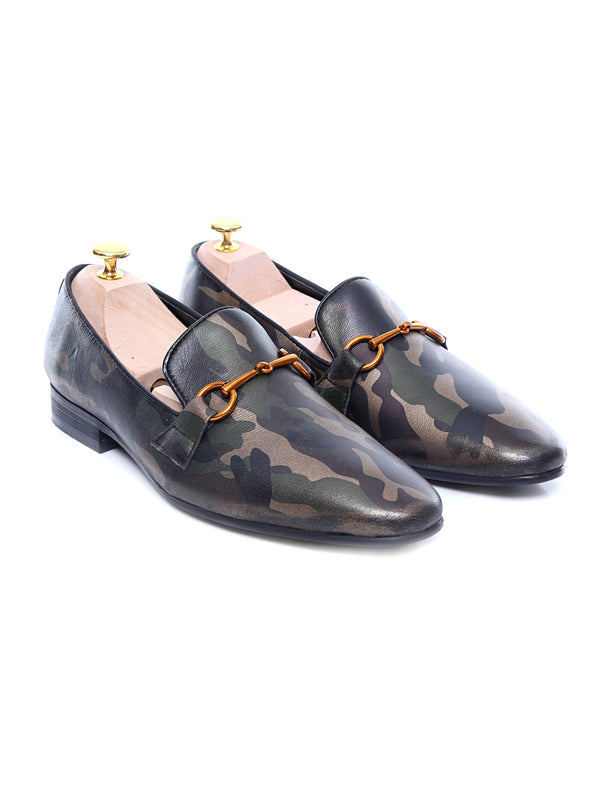 Loafer Slipper - Camouflage Leather Brass Horsebit Buckle