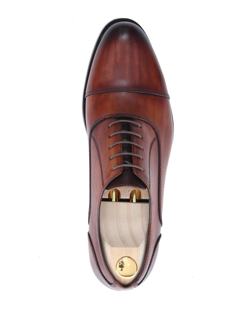 Oxford Cap Toe - Cognac Tan Lace Up (Hand Painted Patina)