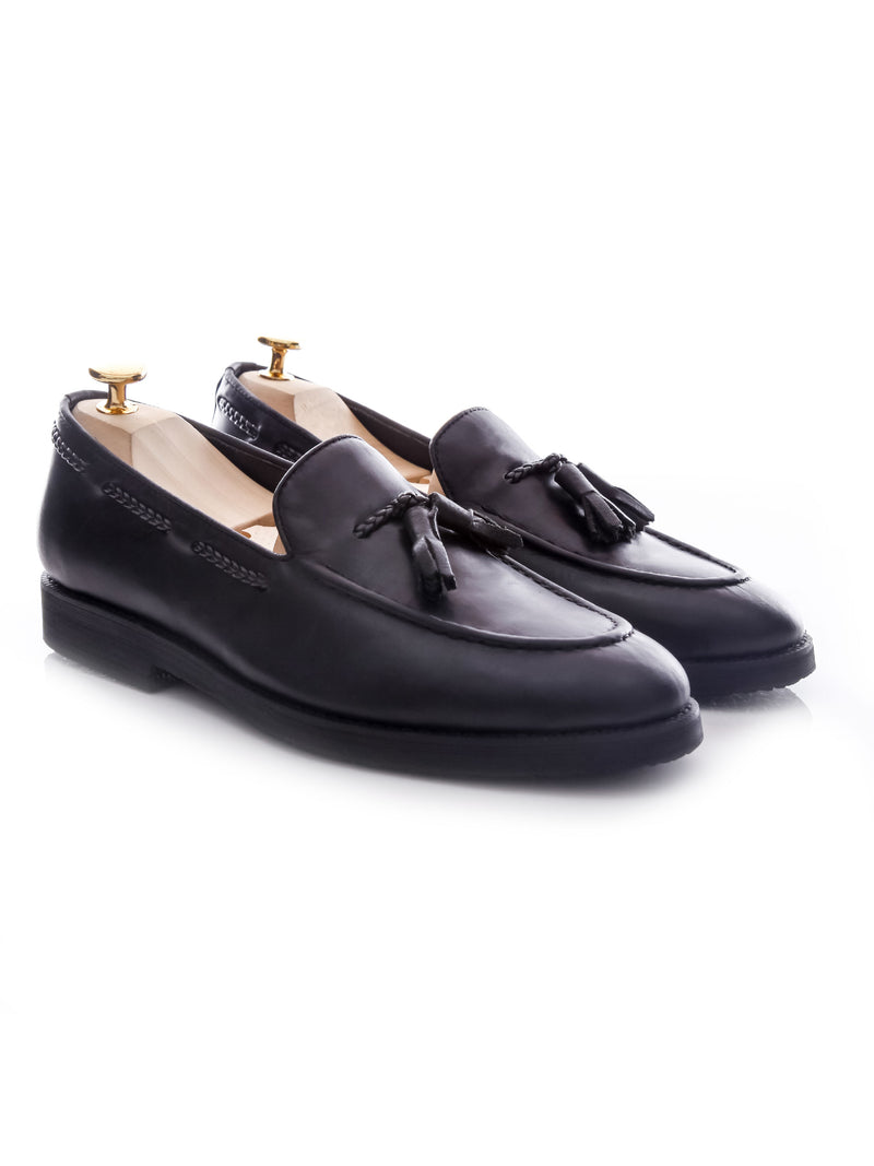 Tassel Loafer - Black Leather (Crepe Sole)