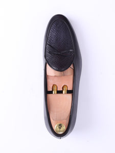 Belgian Loafer - Black Grey Snake Skin With Ribbon (Hand Painted Patina)