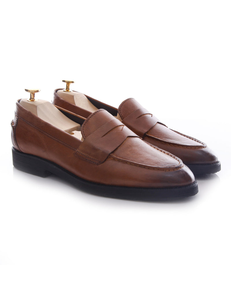 Penny Loafer - Tan Burnished (Crepe Sole)