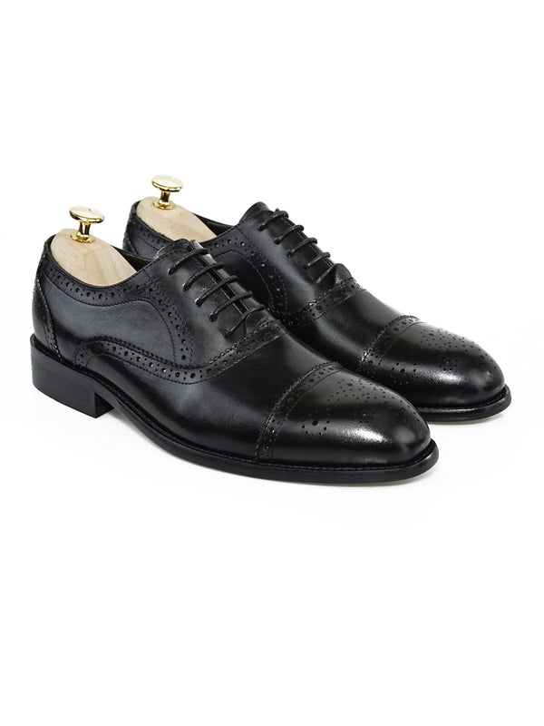 Oxford Cap Toe Semi Brogue - Black Lace Up