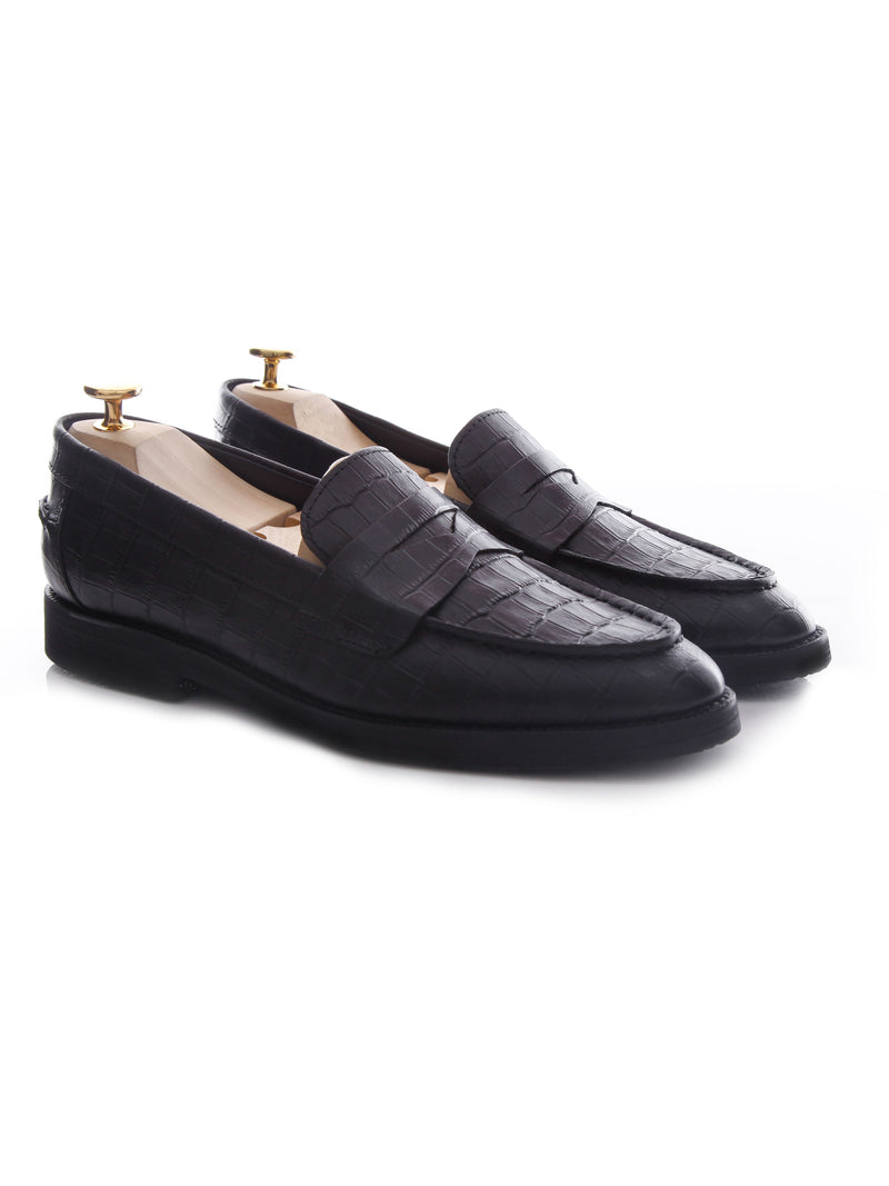 Penny Loafer - Black Croco Leather (Crepe Sole)
