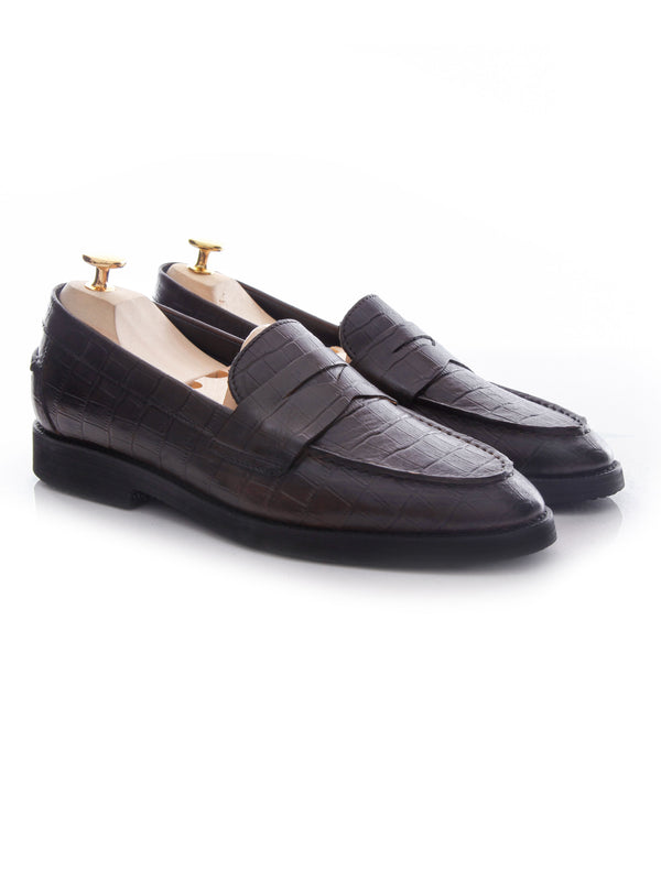 Penny Loafer - Coffee Crocodile Leather (Crepe Sole)