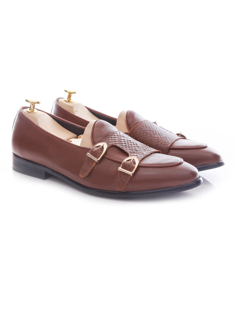 Belgian Loafer Double Monk Strap - Brown Leather