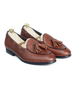 Belgian Loafer With Tassel - Tobacco Brown Pebble Grain Leather