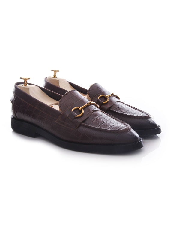Penny Loafer Horsebit Buckle - Coffee Crocodile Leather (Crepe Sole)