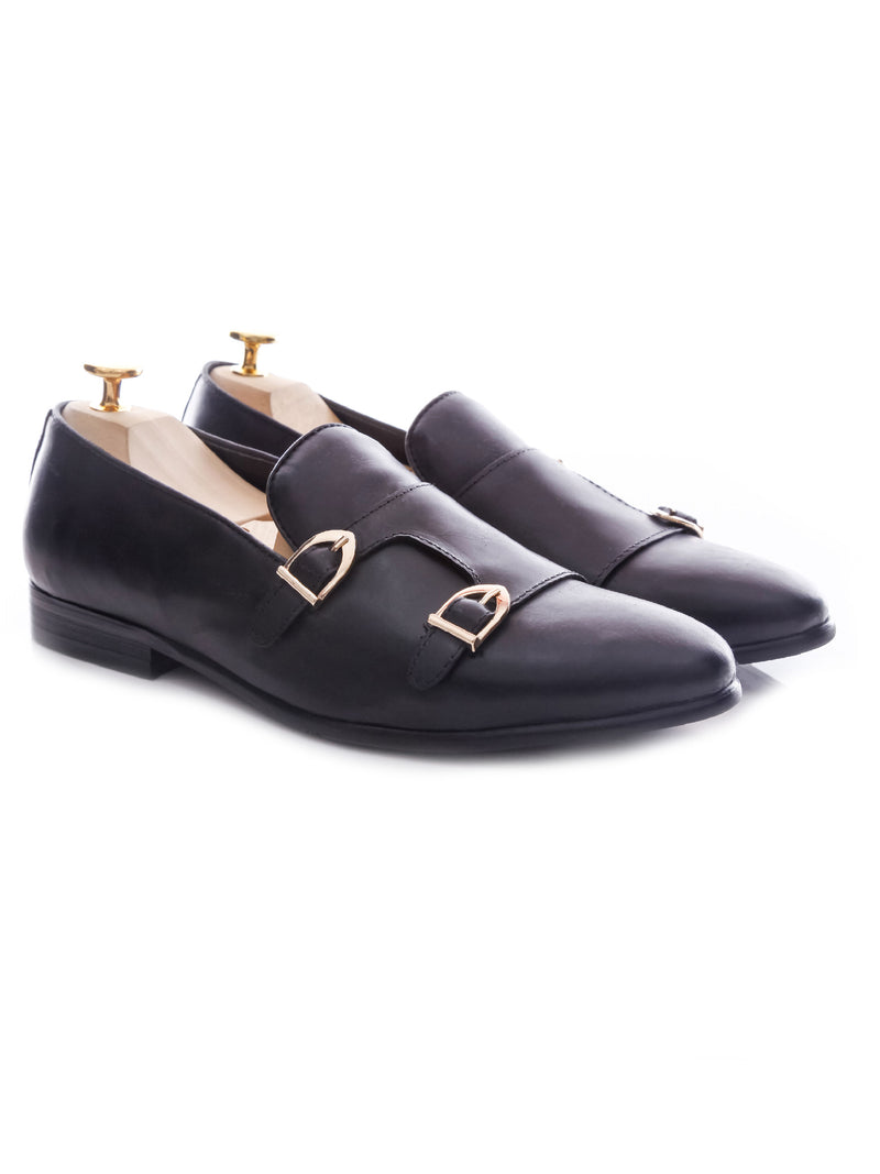 Loafer Slipper Double Monk - Black Leather