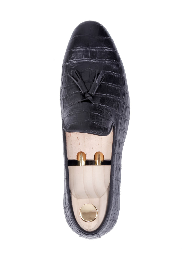 Loafer Slipper - Black Croco Leather