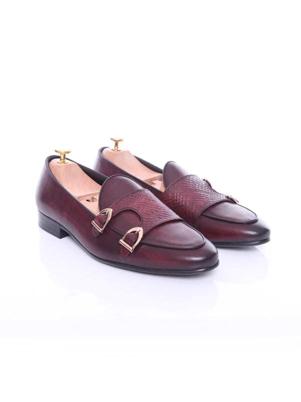 Belgian Loafer - Red Burgundy Snake Skin Double Monk Strap (Hand Painted Patina)