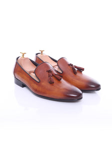 Loafer Slipper - Cognac Tan (Hand Painted Patina)