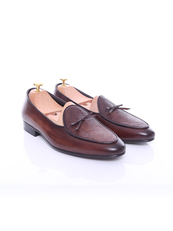 Belgian Loafer - Dark Brown Snake Skin With Ribbon (Hand Painted Patina)