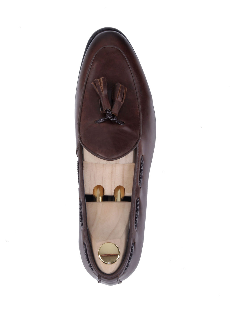 Belgian Loafer With Tassel - Coffee Leather