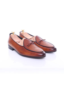 Belgian Loafer - Cognac Tan Snake Skin With Ribbon (Hand Painted Patina)