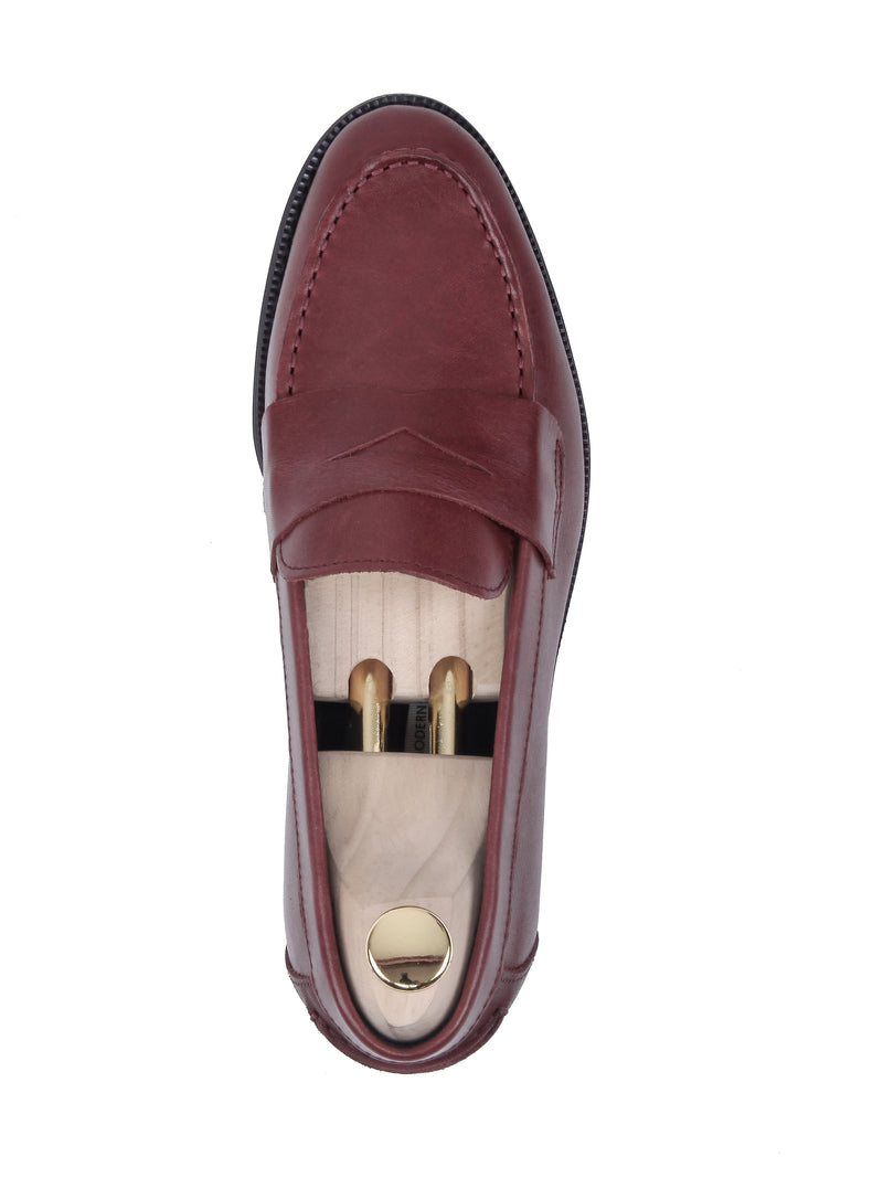 Penny Loafer - Red Burnished (Crepe Sole)