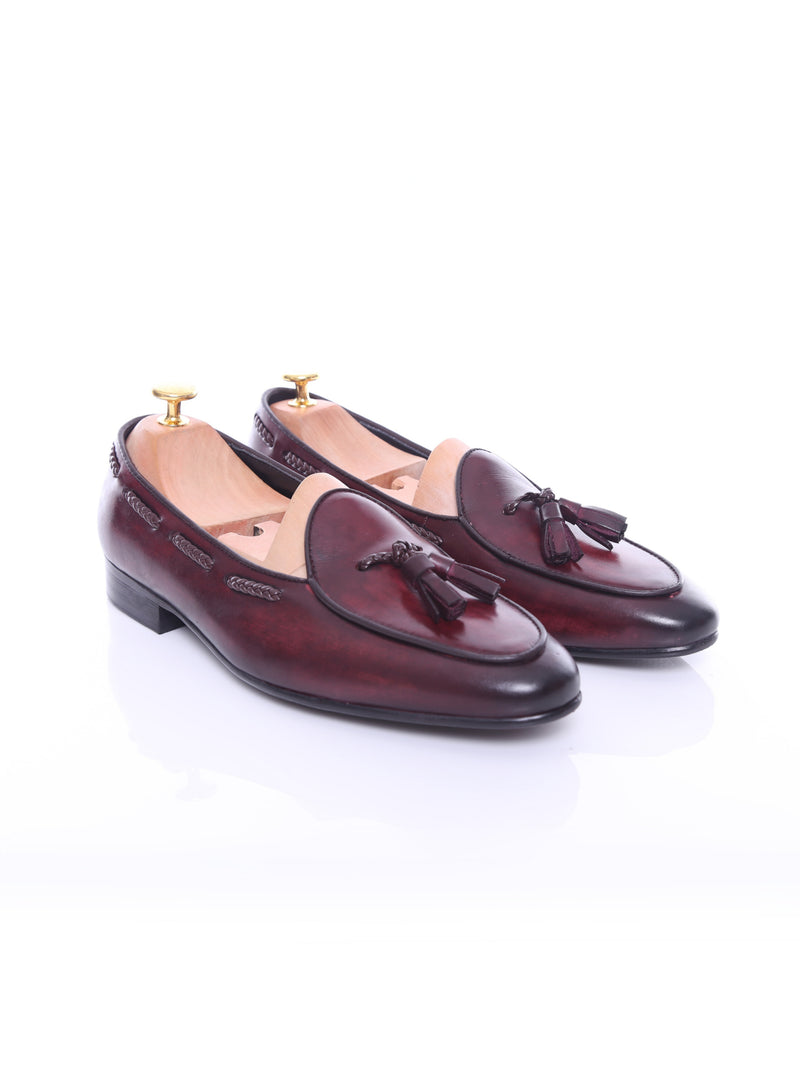 Belgian Loafer - Red Burgundy With Tassel  (Hand Painted Patina)