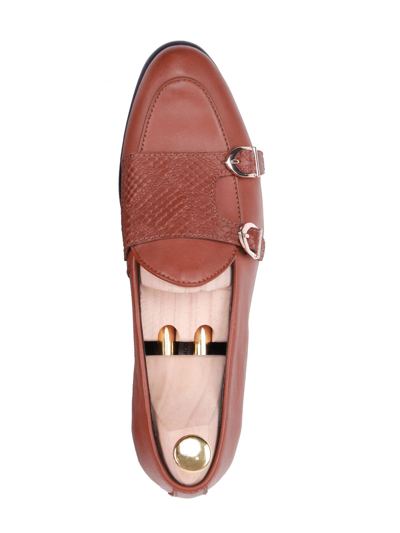 Belgian Loafer Double Monk Strap - Tangerine Leather