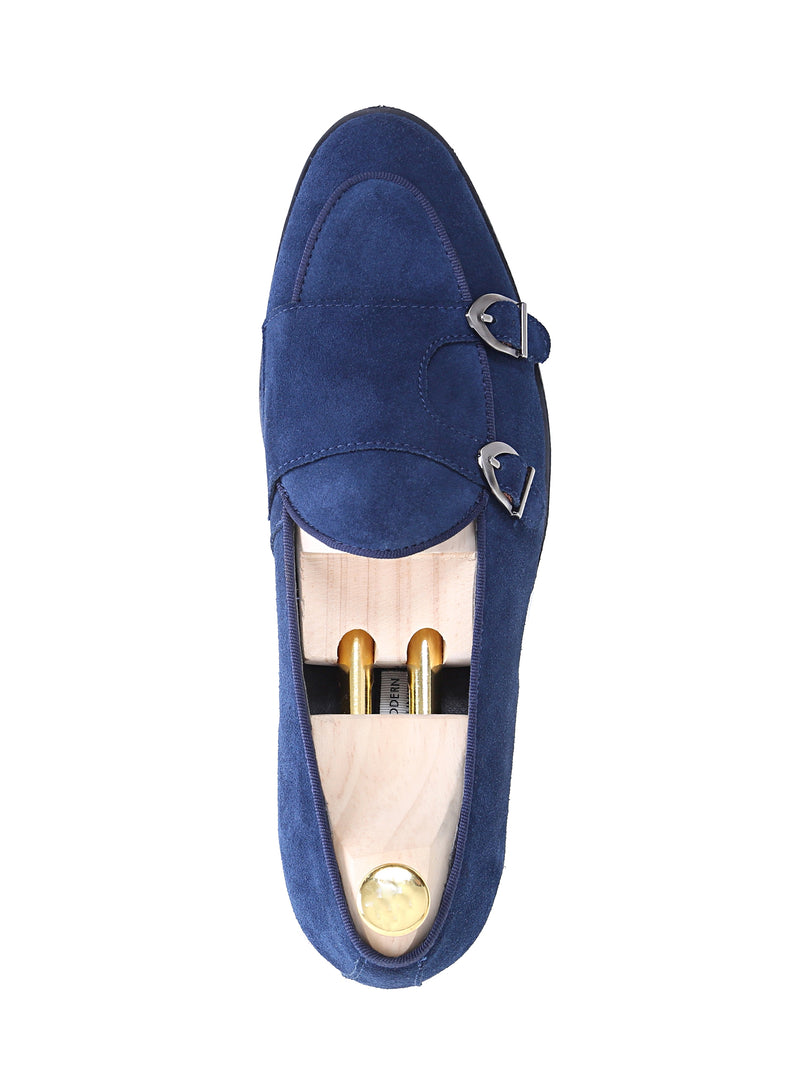Belgian Loafer - Navy Suede Double Monk Strap